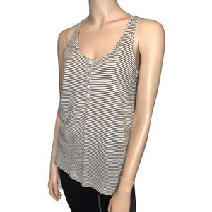 J Crew Taupe and Cream Striped Sequence Tank Top